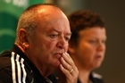 All Blacks coach Graham Henry ponders on the Cup without Dan Carter as Dr Deb Robinson answers questions from journalists. Photo / Getty Images