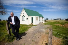 Peter Alexander says the Westney Methodist Church and other historic buildings displaced by airport growth are very important to the area. Photo / Dean Purcell 