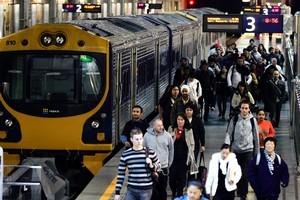 Auckland's Britomart train station during morning rush hour. Photo / Doug Sherring