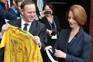 Prime Minister John Key and Australian Prime Minister Julia Gillard. Photo / Greg Bowker