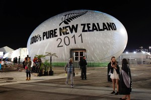 The 100% Pure New Zealand rugby ball is illuminated with a projection on Queens Wharf. Photo / Sarah Ivey