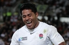 England centre Manu Tuilagi and the mouthguard that got him into trouble during the match between England and Georgia in Dunedin. Photo / Brett Phibbs