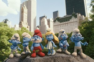 The Smurfs with Smurfette, voiced by Katy Perry. Photo / Supplied