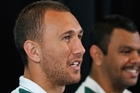 Quade Cooper talks to the media ahead of Sunday's Rugby World Cup quarter-final against South Africa. Photo