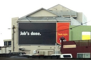 This Tui billboard was called in poor taste after the death of Apple's Steve Jobs. Photo / APNZ