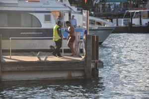 England player Manu Tuilagi has been fined $6075 after jumping from a Fullers ferry as it berthed in Auckland yesterday. Photo / Supplied