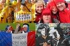 Happy fans from New Zealand, France, Australia and Wales. Photos / Greg Bowker, Richard Robinson, Mark Mitchell