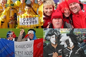 Happy fans from New Zealand, France, Australia and Wales. Photos / Greg Bowker, Richard Robinson, Mark Mitchell