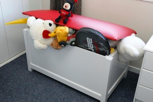 Making your own toy box means you can customise it to suit the bedroom. Photo / Janna Dixon