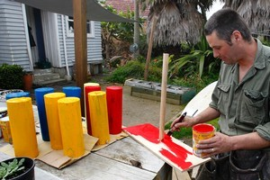 Justin Newcombe in the process of making Quoits. Photo / Steven McNicholl
