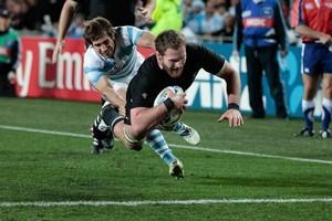 All Blacks No 8 Kieran Read scores against Argentina at Eden Park. Photo / Brett Phibbs