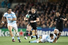Winger Cory Jane takes on the Argentine defence with Piri Weepu in support. Photo / Greg Bowker 