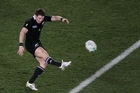 The New Zealand All Black's Colin Slade in action. Photo / Richard Robinson.