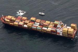 the stricken cargo ship on Tauranga's Astrolabe Reef. Photo / Joel Ford