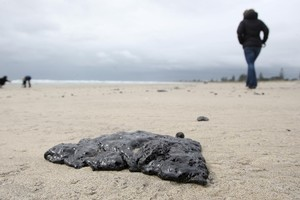 Oil from the Rena - which is stuck on a Bay of Plenty reef - has washed up along the coast in Mount Maunganui. Photo / Joel Ford