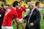 Warren Gatland (right) celebrates with Wales captain Sam Warburton after the team's 22-10 quarter-final victory over Ireland. Picture / Getty Images