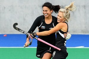 Kayla Sharland and Charlotte Harrison celebrate a goal. Photo / Getty Images