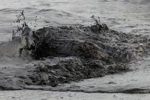 A black tide of oil sweeps over a bit of driftwood on Papamoa Beach. Photo / Alan Gibson