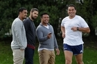 Blues mates (from left) Jerome Kaino, Kurtis Haiu and Keven Mealamu keep a watch on Pat Lam as he trains for the fundraiser to help Haiu with his cancer treatment. Photo / Brett Phibbs