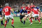 France on a rare attack against Wales at Eden Park last night. Doug Sherring