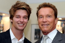 Arnold Schwarzenegger and his son Patrick Arnold pose for a photograph during the inauguration of the museum. Photo / AP