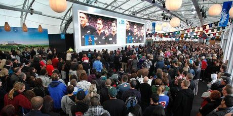 Fans gather at the Cloud on Queens Wharf. Photo / Steven McNicholl