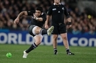 All Blacks halfback Piri Weepu kicks a penalty. Photo / Brett Phibbs