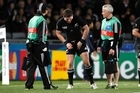 All Black Colin Slade looks injured during the Rugby World Cup 2011 quarter final match against Argentina . Photo / Dean Purcell