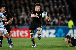 Richie McCaw in action against Argentina. Photo / Dean Purcell