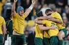 The Wallabies celebrate after their win against the Springboks. Photo / Mark Mitchell