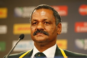 A sombre South African Coach, Peter De Villiers after his teams loss to Australia in the third quarter-final of the 2011 Rugby World Cup. Photo / Paul Estcourt