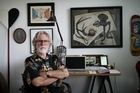 New Zealand artist Dick Frizzell at his Auckland apartment talking about his new book and exhibitions for the Rugby World Cup. Photo / Greg Bowker