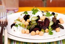 Asparagus, pan-fried beetroot, tzatziki, chickpeas and parsley. Photo / Babiche Martens