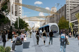 An artist's impression of a possible future Queen St with a light rail/tram system. Photo / Supplied