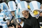 Argentina's rugby fans during the quarter final between the All Blacks and Argentina at Eden Park. Photo / Ron Burgin