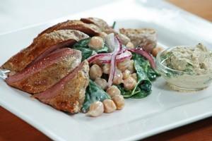 Tandoori lamb with borani salad and baba ganoush. Photo / Supplied