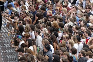 Crowds at the St Jerome's Laneway Festival at Aotea Square, Auckland, 31 January 2011. Photo / Richard Robinson