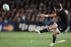 Piri Weepu in action during the quarter final match between New Zealand and Argentina. Photo / Greg Bowker