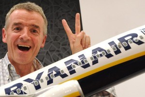 President of Irish budget airline Ryanair, Michael O'Leary, says removing two of the three lavatories on each of the carrier's planes would 'fundamentally lower air fares by about five per cent for all passengers'. Photo / AFP