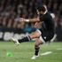 All Blacks Piri Weepu takes a kick during the quarter-final versus Argentina. Photo / Greg Bowker