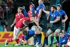 Wales captain Sam Warburton is sent off for spear tackling France's Vincent Clerc. Photo / Natalie Slade
