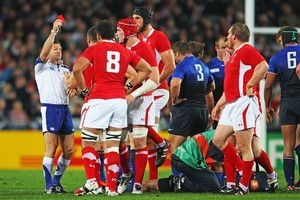 Wales captain Sam Warburton receives a red card from Referee Alain Rolland. Photo / Getty Images