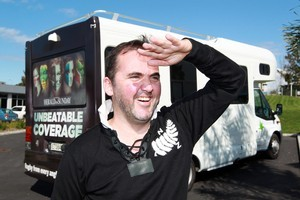 Kiwi Matt Johnson returned from France for the Rugby World Cup. He is backing black. Photo / Doug Sherring