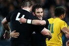 Aaron Cruden and Brad Thorn of the All Blacks celebrate victory. Photo / Getty Images