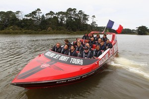 French players enjoy a jetboat ride in Auckland yesterday. Photo / Getty Images