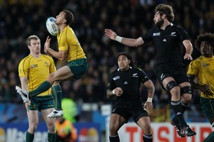 Quade Cooper had a nightmare game at Eden Park. He spilled this high ball. Photo / Brett Phibbs