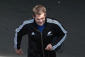 Richie McCaw is the star attraction as he leaves for yesterday's training session. Photo / Greg Bowker
