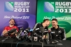 The New Zealand All Blacks Stephen Donald, Ali Williams and Sonny Bill Williams joke around. Photo / Richard Robinson