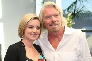 Renee Cornaga and Sir Richard Branson. Photo / Greg Bowker