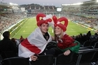 Alex Smedley and Megan Protheroe joined more than 50,000 Rugby World Cup fans who flocked to Eden Park. Photo / Greg Bowker